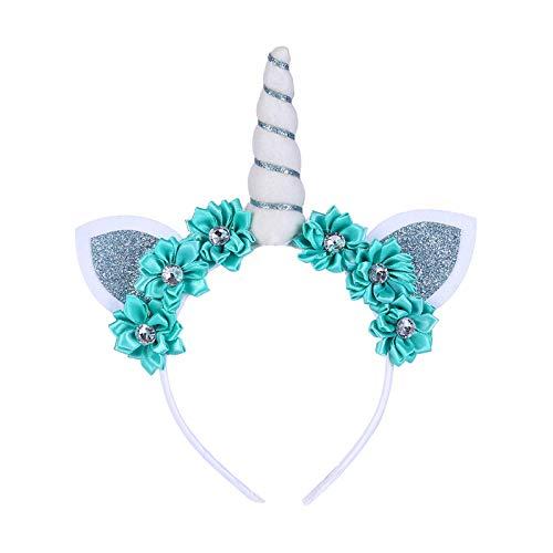 MKHDD Einhorn Horn Ohren Blume Stirnband für Kinder Erwachsene Halloween Cosplay Kostüm Birthday Party Kopfschmuck,G