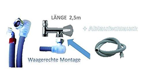 Aquastop 2, 5 Meter Schlauch/Aquastop/Sicherheitszulaufschlauch für Waschmaschine und Geschirrspüler 3/4 Zoll + Ablaufschlauch 2,5m