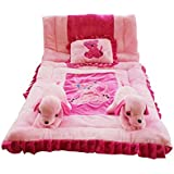 Safe N Cute NEWBORN SET Baby Puppy Super Soft Full Sleeping Set With Duvet (Perfect-Pink) - Trusted Brand High Quality / For Child Whose Age Is B/w 0 - 30 Months Or 2.5 Years /2 Rabbit Pillows , 1 Velvet Super Soft Sleeping Base, 1 Velvet Duvet , 1 Rectan