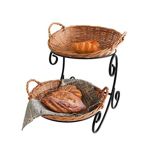 ZN-Cake stand Double Couche en Osier Tissage Présentoir à Pain/Boulangerie décoration Casier à Dessert/Présentoir de Rangement de Cuisine pour Les Anniversaires Café Décoration