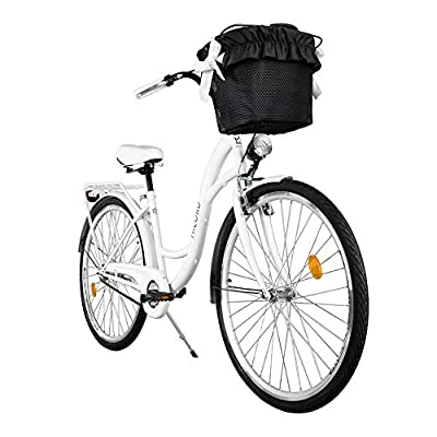Milord. 2018 Komfort Fahrrad mit Korb, Hollandrad, Damenfahrrad, 1-Gang, Weiß, 28 Zoll