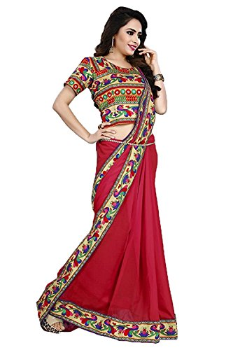 DIYA Fashion Sarees New Disigner Georgette Saree With Blouse Piece , Diya Fashion Designer Saree, Latest Collection Designer,Bollywood Designer Sarrees For Women Designer Sarees For Sale Sarees,indian traditional designer wear,smooth finish and perfect stitching,Diya fashion create fancy fabrics at cometitive prices.the diyafashion serves the customers with superior quality fabric(Red Color Saree With Printed Peackock Les Border And Blouse)  available at amazon for Rs.421