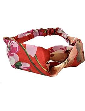 Laat elástico Floral Cruz Banda de Cabello Accesorio Cabello para Mujer Niñas, rojo, talla única