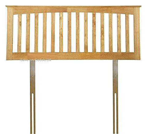 White,Oak finish solid wood wooden headboard bed head end board (4FT6 DOUBLE, HONEY OAK)