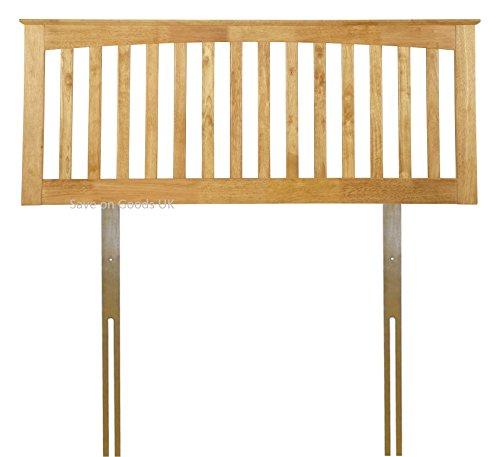White,Oak finish solid wood wooden headboard bed head end board (4FT SMALL DOUBLE, HONEY OAK)