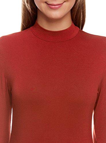 oodji Ultra Damen Rollkragenpullover Basic mit 3/4-Ärmeln Rot (3100N)