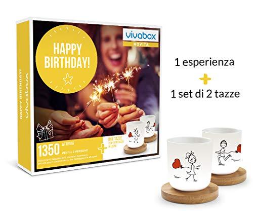 VIVABOX Cofanetto Regalo - Happy Birthday! - 1350 ATTIVITA' per 2 Persone + 1 Set di 2 Tazz