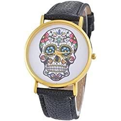 Souarts Artificial Leather Round Dial Skull Pattern Quartz Wrist Watch Black