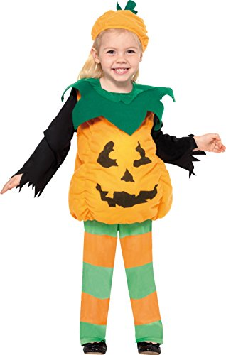 Smiffys, Kinder Mädchen Kleiner Kürbis Kostüm, Oberteil, Hose und Hut, Größe: T1 (Kleinkind Small), 35648