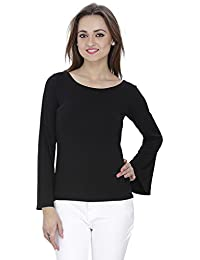 SVT ADA COLLECTIONS Cotton Lycra Black Color Elegant TOP with Bell Sleeves (018402_Black_Medium)