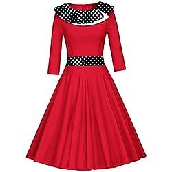 Là Vestmon - Vestido retro de cóctel para mujer, años 50, Swing, vintage, Rockabilly, vestido, plisado, falda, noche, vestidos, lunares, manga larga