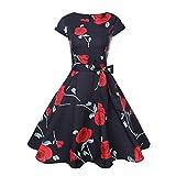 Neun Vintage Kleid, Yesmile Vintage 50er Jahre Blumen Swing Party Kleider Damen Schwarz Rockabilly Retro Hepburn Cocktailkleider Frauen Kurzarm Rundhals Swing Skirt Abendkleid (XL, Rot)