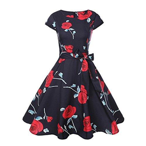 � Yesmile Vintage 50er Jahre Blumen Swing Party Kleider Damen Schwarz Rockabilly Retro Hepburn Cocktailkleider Frauen Kurzarm Rundhals Swing Skirt Abendkleid (L, Rot) ()