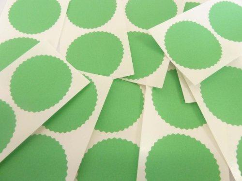 Mini Aufkleber 20 Stück (zwanzig), 50mm Wellenkanten, grün, Zertifikat Waffel Company Siegel-Etiketten, Sticker für Prägung, Gesetzlich & Auszeichnungen