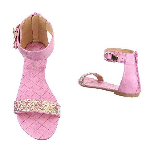 Komfortsandalen Damenschuhe Römersandalen Blockabsatz Blockabsatz Reißverschluss Ital-Design Sandalen / Sandaletten Rosa