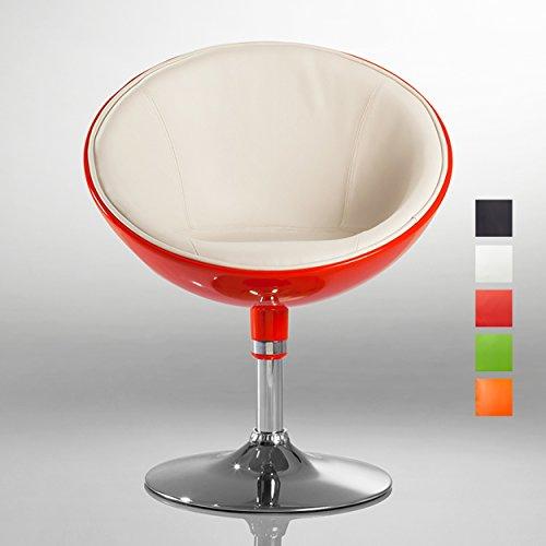Poltrona in similpelle e plastica arancione bianco club sedia lounge poltroncina girevole colore selezione - duhome 207
