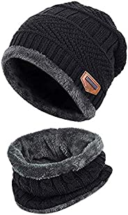 Black 2-Pieces Winter Beanie Hat Scarf Set Warm Knit Hat Thick Fleece Lined Winter Hat & Scarf For Men Women For Men