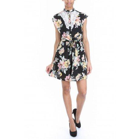 Ideal Shoes - Robe imprimé fleuris avec dentelle Jailys Noir