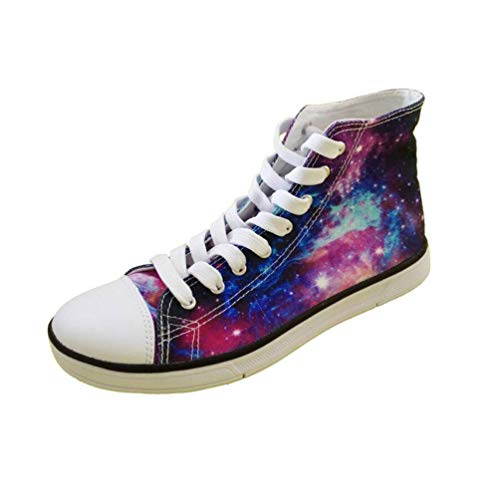 Nopersonality Women High Top Lace-up Canvas Shoes Purple Galaxy Star Printed Casual Sturdy Tennis Trainer 39 EU