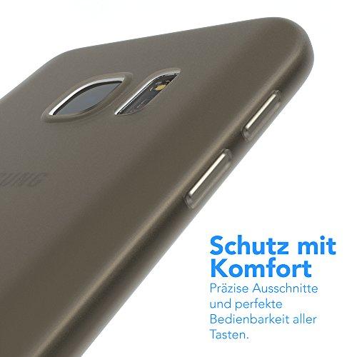 "EAZY CASE Handyhülle für Samsung Galaxy S7 Hülle - Premium Handy Schutzhülle Slimcover ""Brushed"" Aluminium Design - TPU Silikon Backcover in brushed Hellblau Matt Schwarz / Anthrazit"