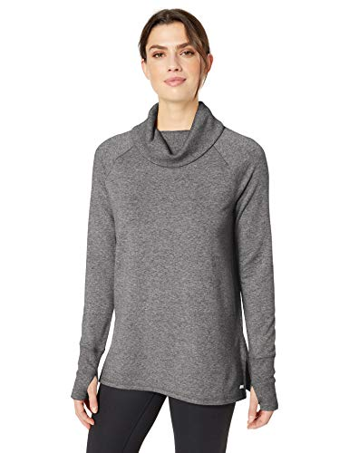 Amazon Essentials - Túnica de algodón terry de manga larga con cuello de embudo., Gris (Grey Marl), US M (EU M - L)