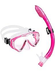 Schnorchelset Kinder - UPhitnis Anti-Fog Snorkeling Mask, Anti-Leck Tauchermaske Dry Schnorchel - Snorkeling Set für Mann, Damen, Kinder - Tauchen & Schnorcheln mit Blau, Schwarz, Gelb, Rose