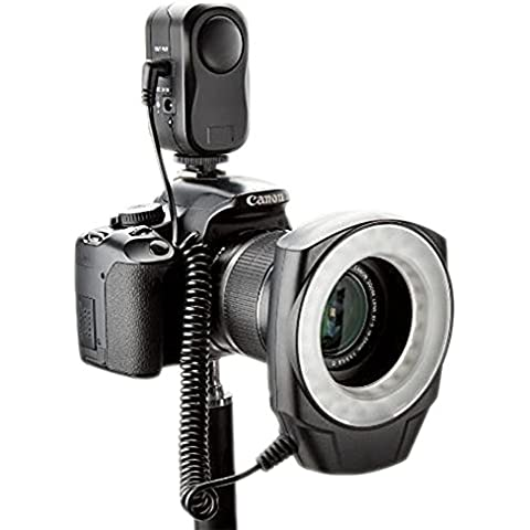 NEEWER Macro Ring Light LED para Canon 1Ds, 5D, 7D, 30D, 40D, 50D, 400D, 450D, 500D, 550D, 1000D, Nikon D700, D300, D100, D90, D80, D60, D40, D40x, D3, D2, D1, D5000, D3000 con 6 anillos GRATIS 49mm, 55mm, 58,62,67 MM