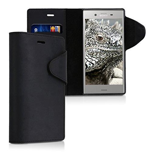 kalibri-Hlle-fr-Sony-Xperia-XZ1-Echtleder-Wallet-Case-Schutzhlle-mit-Fach-und-Stnder-in-Schwarz