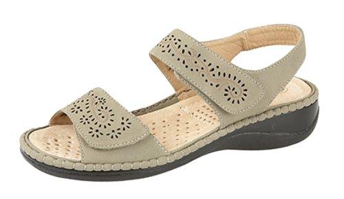 Ladies touch sandali in simil-nubuck chiusura posteriore Stone