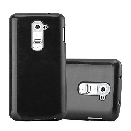 Cadorabo Hülle für LG G2 Mini - Hülle in SCHWARZ – Handyhülle aus TPU Silikon in gebürsteter Edelstahloptik (Brushed) Silikonhülle Schutzhülle Soft Back Cover Case Bumper