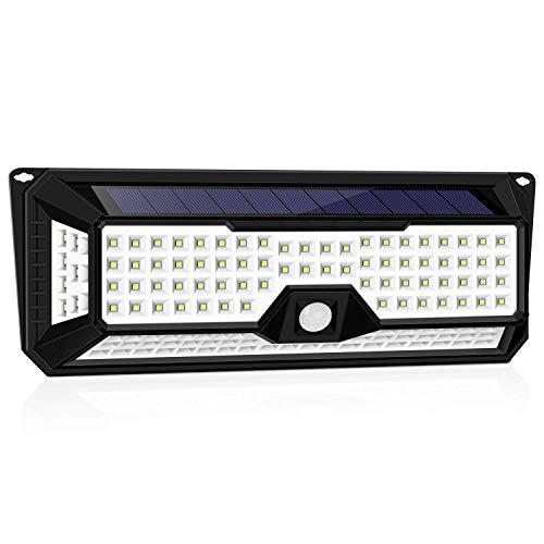 Solarleuchte LED Solarlampe, iGOKU 136 LEDs Außenwandleuchten Bewegungsmelder solarlicht für außen, 270 °Weitwinkel, IP65 Wasserdicht,3 Modi Hitzebeständig, für Garten, Garage, Innenhof und Balkon
