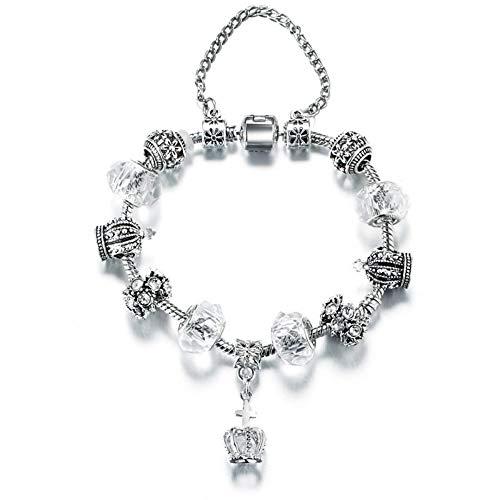 197f21b6c QWERST Pulsera de Cuero, Crystal Beads Charms Pulseras para Mujeres Vintage  Color Plata Cadena Colgante