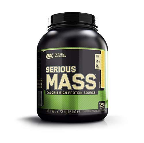 Optimum Nutrition ON Serious Mass Hochkalorisches Weight Gainer Protein Pulver mit Kohlenhydrate, Whey Protein, Vitaminen, Kreatin und Glutamin, Banana, 8 Portionen, 2.73kg