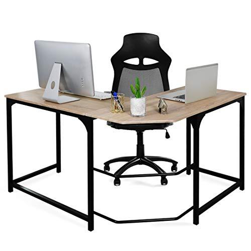 Aingoo Eckschreibtisch Moderne L-förmiger Schreibtisch Ecke Computer Schreibtisch Home Office Studie Workstation Holz & Stahl PC Laptop-Spieltisch