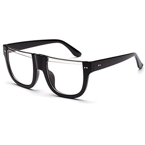 SHEEN KELLY Groß Sonnenbrille Großartig Cool Brillen halbrandlos Gläser transparenten mit hälfte der linse