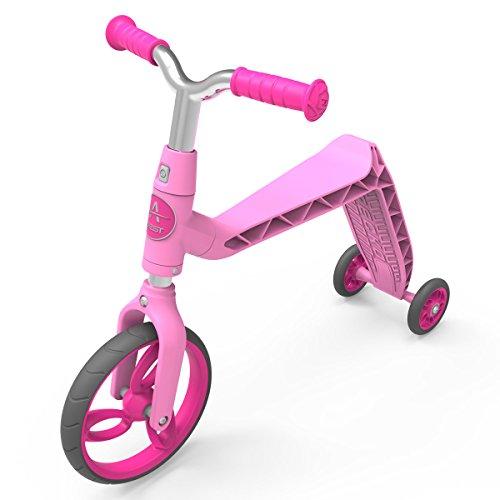 AEST Monopattino 2 in 1 Scooter reversibile da bici senza pedali Scooter 3 ruote bambina bambino da 2 a 4 anni - Colore Rosa