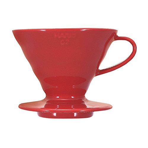 Hario VDC-02R V60 Kaffeefilterhalter Porzellan- Größe 02/1-4 Tassen, rot (1 2 Tasse Glas)