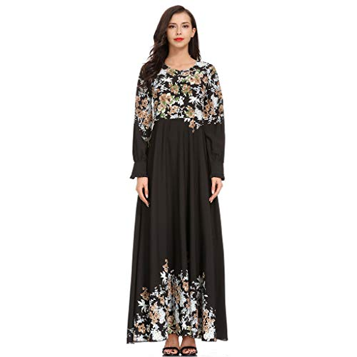 legant Moslemischer Vintage Gedruckt Muslimische kleidung Islamische Kleidung Lose Frauen Muslimische MaxiKleid Abaya Islamischer Arabischer Kaftan ()