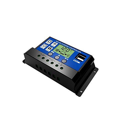 KKmoon Mehrzweck Intelligenter Solarregler mit HD-LCD-Display und Dual-USB-Schnittstelle für den Heim- oder Industriellen Gebrauch (12V / 24V, 10A, 20A, 30A) - 12-volt-systemsteuerung