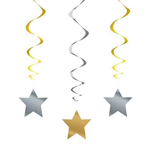 (66cm hängend Stern Silber und Gold Party Dekorationen, 3Stück)