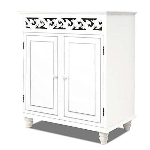 Cupboard cabinet nostalgy white wooden sideboard 2 doors furniture freestanding