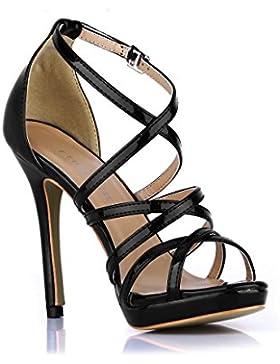 Best 4U® Sandali da donna Crossing Straps Stivali Specchi PU Stiletto 12CM Tacchi alti Peep Toe Scarpe estive...
