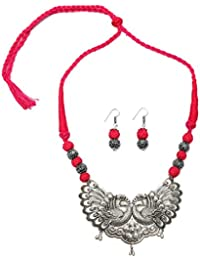 Tandra's Fashion Oxidised Or German Silver Pink Peacock Necklace Set For Women And Girls