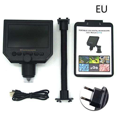 TOPONE 3.6MP USB microscopio Digitale elettronico, 600x ingrandimento, VGA microscopio Digitale USB Portatile microscopio elettronico con 4.3HD, Nero, EU