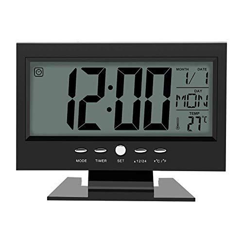 Multifunción Control de sonido Gran pantalla LCD digital reloj mesa escritorio tiempo de reloj despertador con