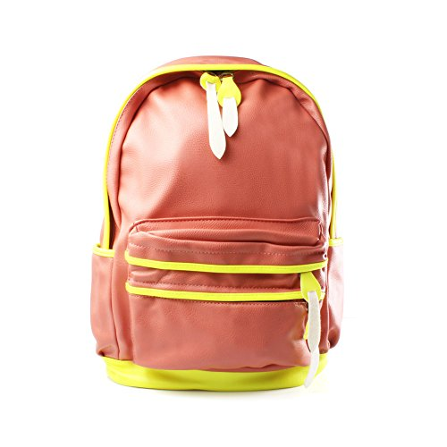 Accessoryo - pêche en faux cuir sac à dos/sac à dos wih néon de garniture jaune