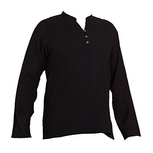 PANASIAM Shirt, K', 3button, Black, M, Longsleeve -