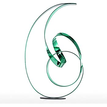 Tooarts Ribbon Freestanding Sculpture Modern Colorful Abstract Desktop Sculpture Metal Ornaments Crafts Office Decorations