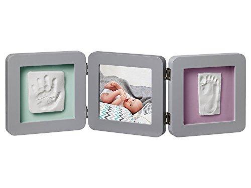 Baby Art My Baby Touch Double Print Frame, 3er Bilderrahmen für Foto, Hand und Fußabdruck, rund, - Kinder, Bilderrahmen Runde