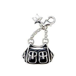 Tingle London Damen Schmuck Silber Emaille Karab SCH77 Tingle Charm-Anhänger Handtasche mit Karabinerverschluss